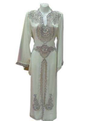 Cream Embroidered Georgette Islamic Kaftans With Zari & Stone Work