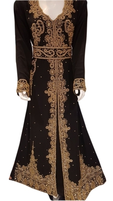 Brown Embroidered Georgette Islamic Kaftans With Zari & Stone Work