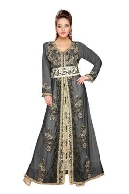 Inner Cream Jacket Black Embroidered Georgette Islamic Kaftans With Zari & Stone Work