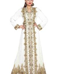 Cream Embroidered Georgette Islamic Kaftans With Zari & Stone Work