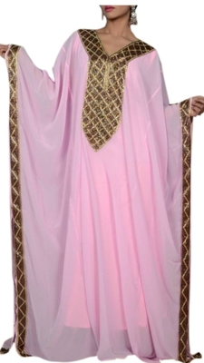 Baby Pink Embroidered Georgette Islamic Kaftans With Zari & Stone Work