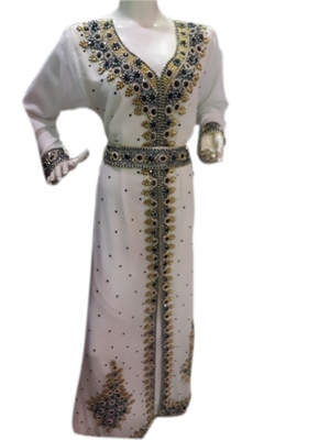 White Embroidered Georgette Islamic Kaftans With Zari & Stone Work