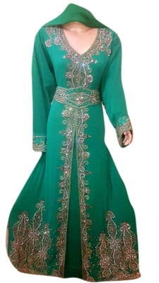 Green Embroidered Georgette Islamic Kaftans With Zari & Stone Work