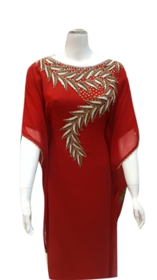 Red Embroidered Georgette Islamic Kaftans With Zari & Stone Work