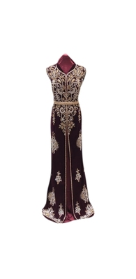 Maroon Embroidered Georgette Islamic Kaftans With Zari & Stone Work