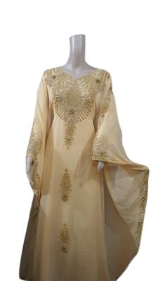 Beige Embroidered Georgette Islamic Kaftans With Zari & Stone Work