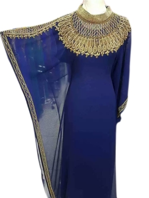 Navy Blue Embroidered Georgette Islamic Kaftans With Zari & Stone Work