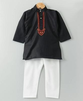 Black Embroidered Cotton Boys Kurta Pyjama