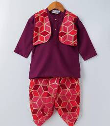 Purple Embroidered Cotton Boys Dhoti Kurta