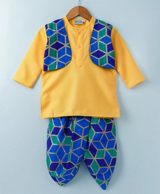 Yellow Embroidered Cotton Boys Dhoti Kurta