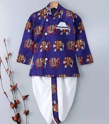 Buy Blue Embroidered Banglori Silk Boys Dhoti Kurta boys-dhoti-kurtum online