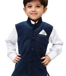 Navy Blue Printed Velvet nehru jacket