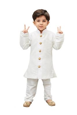 White Solid Silk Blend Boys Sherwani