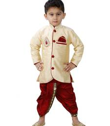 Buy Gold Embroidered Cotton Silk Boys Indo Western Dress boys-indo-western-dress online