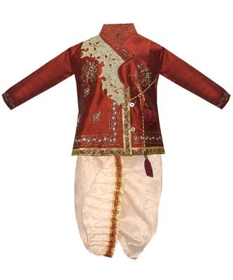 Maroon Embroidered Cotton Silk Boys Dhoti Kurta