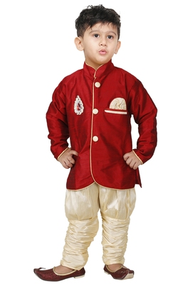 Maroon Embroidered Cotton Silk Boys Indo Western Dress