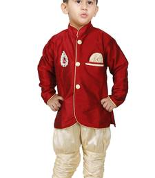 Buy Maroon Embroidered Cotton Silk Boys Indo Western Dress boys-indo-western-dress online