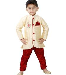 Gold Embroidered Cotton Silk Boys Indo Western Dress