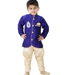 Blue Embroidered Cotton Silk Boys Indo Western Dress