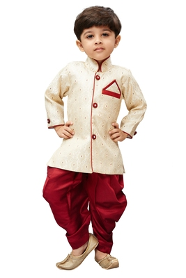 Gold Embroidered Cotton Silk Boys Dhoti Kurta