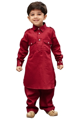 Maroon Solid Cotton Boys Pathani Khan Suit