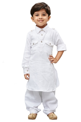 White Solid Cotton Boys Pathani Khan Suit