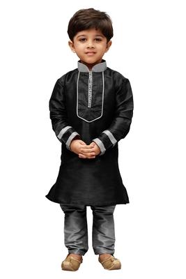 Black Embroidered Cotton Silk Boys Kurta Pyjama