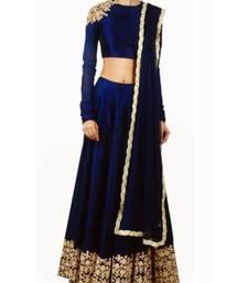 blue Raw silk Dori work semi stitched lehenga choli material with matching net dupatta