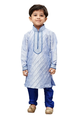 Bluish White Embroidered Cotton Silk Boys Kurta Pyjama