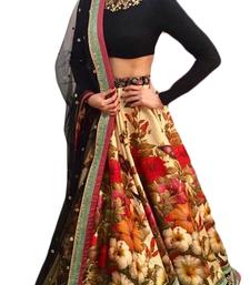 Multicolor embroidered velvet blouse unstitched lehenga