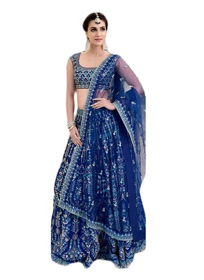 Blue Embroidered Lehenga choli with Dupatta