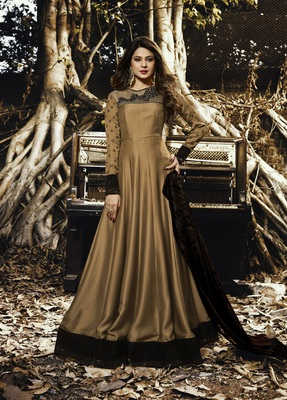 Gold Resham Embroidery Silk With Velvet Semi Stitched Anarkali Suit