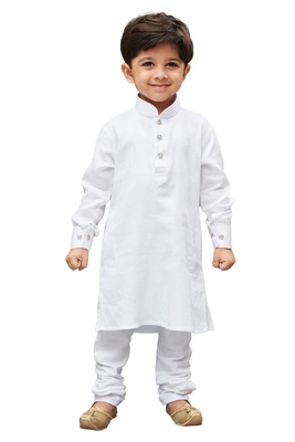 White Solid Cotton Boys Kurta Pyjama