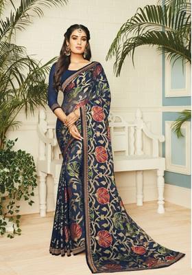 Dark-Blue brasso Georgette saree with blouse