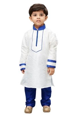 White Embroidered Cotton Silk Boys Kurta Pyjama