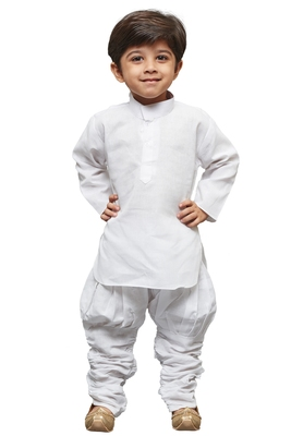 White Solid Linen Boys Kurta Pyjama