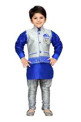 Kids Partywear Kurta Pyjama and Waistcoat Set