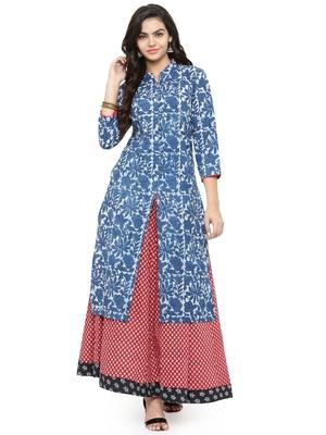 Indigo printed cotton kurti