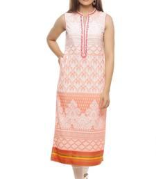 Peach embroidered cotton kurti