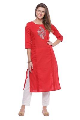 Red Hand Embroidered Straight Pure Cotton Kurta