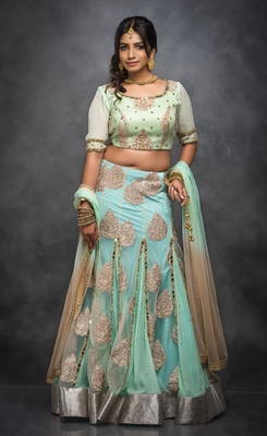 Light green embroidered net stitched lehenga with dupatta
