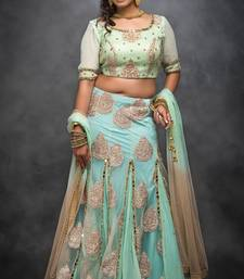 Buy Light green embroidered net stitched lehenga with dupatta readymade-lehenga-cholis online