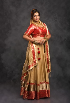 Gold embroidered art silk stitched lehenga with dupatta