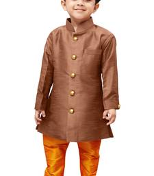 Buy Boys' Brown Silk Blend Sherwani Style Kurta Set boys-sherwani online