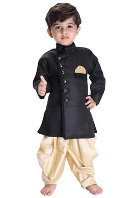 Boys' Black Cotton Blend Sherwani Style Kurta Set