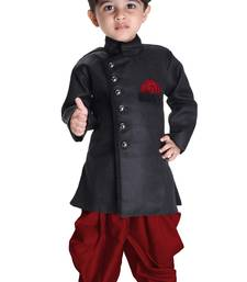 Boys' Black Cotton Blend Sherwani Style Kurta Set