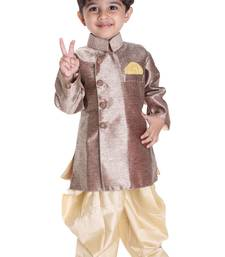Buy Boys' Gold Cotton Blend Sherwani Style Kurta Set boys-sherwani online
