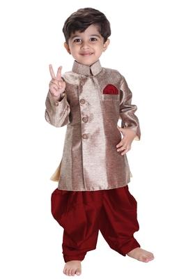 Boys' Gold Cotton Blend Sherwani Style Kurta Set