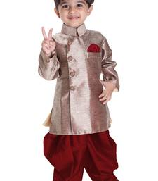 Boys' Gold Cotton Blend Sherwani Style Kurta Set