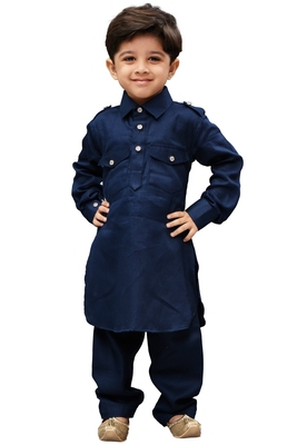 Boys' Blue Cotton Pathani Khan Suit Set